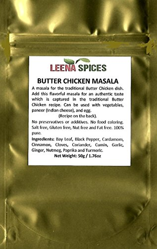 LEENA SPICES – Butter Chicken Seasoning Curry Powder Masala – Gluten Free – Real Indian Taste – With An Easy Cooking Yummy Recipe – No Color Or Salt Mix. by Leena Spices