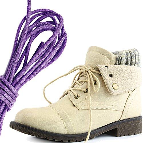 Daily Shoe Mujeres Combat Style Lace Up Sweater Top Tobillo Botín Con Bolsillo Para Tarjeta De Crédito Knife Money Wallet Pocket Botas, Purple Beige Pu