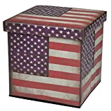 MyGift Vintage American Flag Design Square Collapsible Faux Leather Organizer Storage Ottoman Box with Lid