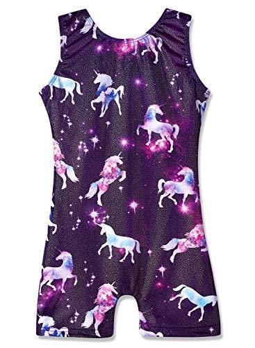 Leotards for Girls Gymnastics Unicorn Rainbow Sparkly Biketards Dance Ballet Clothes (Purple Sparkly, 140 for 7-8Y) Big Kids Purple Apparel