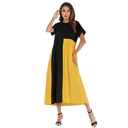 1470f71c2212 Women's Cotton Linen Dresses Fashion Patchwork Short Sleeve Casual Loose T  Shirt Dress Plus Size at Amazon Women's Clothing store: