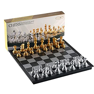 Folding Magnetic Travel Chess Set by MAZEX for Kids or Adults Chess Board Game 9.8X9.8X0.8 inch (Gold&Silver Chess Pieces)