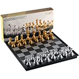 Folding Magnetic Travel Chess Set by MAZEX for Kids or Adults Chess Board Game 12.5X12.5X0.8 Inch (Gold&Silver Chess Pieces)