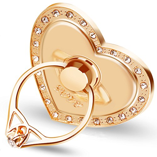 Phone Stand, Luxury Updated Re-Usable Metal Stainless Phone & Tablet Anti Drop Ring Stand Holder with Diamonds for iPhone iPod iPad Samsung and More (Heart Shape) (Gold)
