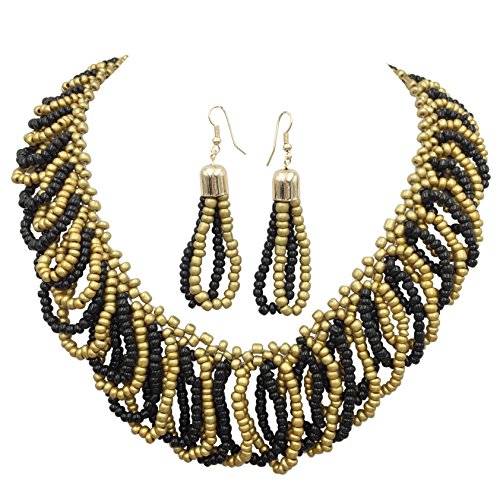 Necklace Bead Set Seed (Multi Color Beads Teardrop Loops Designer Look Statement Necklace & Earring Set (Black & Gold Tone))