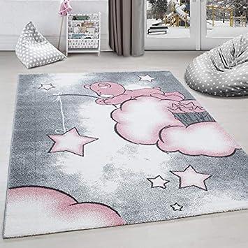 Kinderteppich Kinderzimmer Teppich Bär Wolken Stern-Angeln Grau-Weiß ...