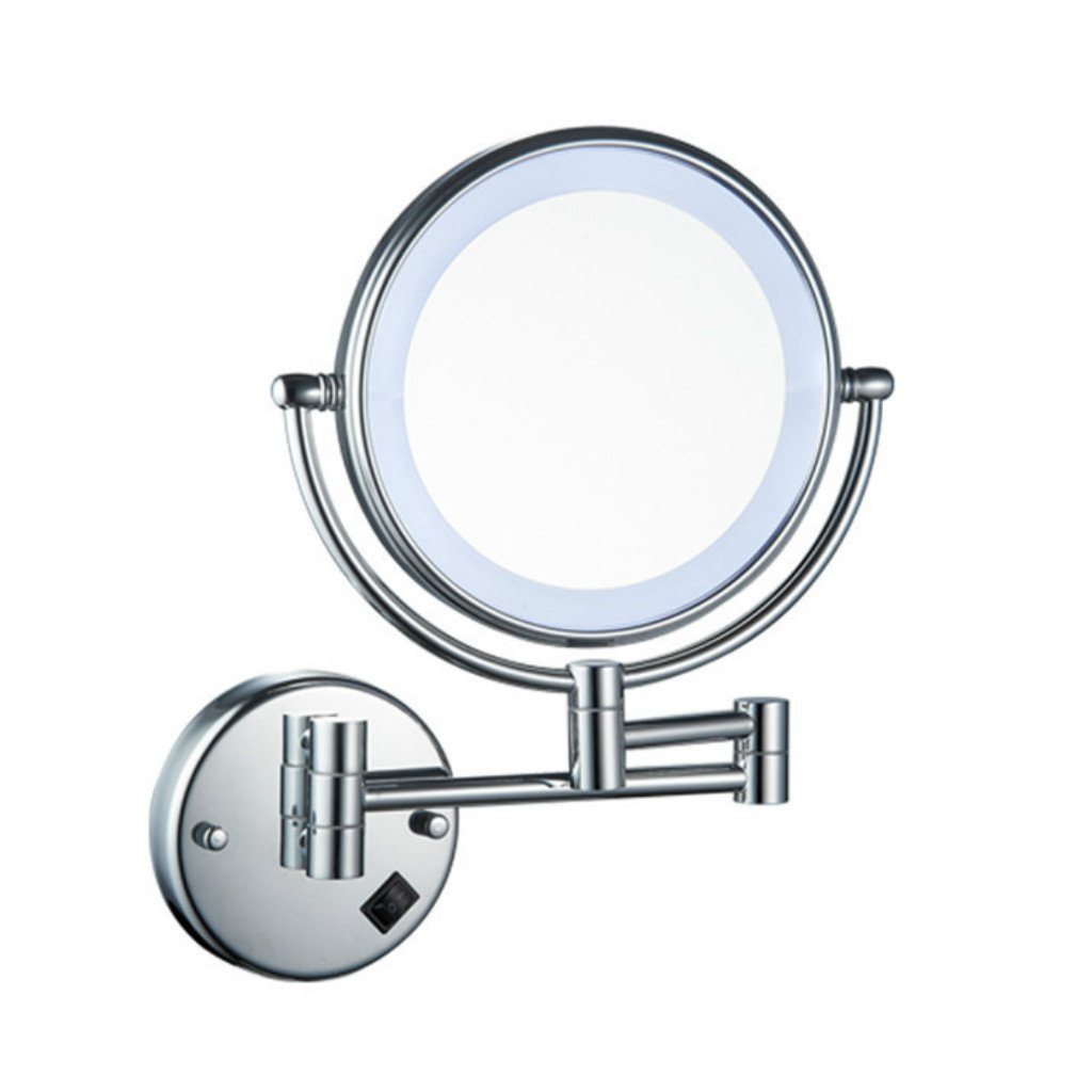 Homyl Metal Double Sided LED Light Wall Mount Mirror Makeup Shaving 3X 5X 7X Rotatable and Adjustable - Chrome, 7x Magnification by Homyl (Image #10)