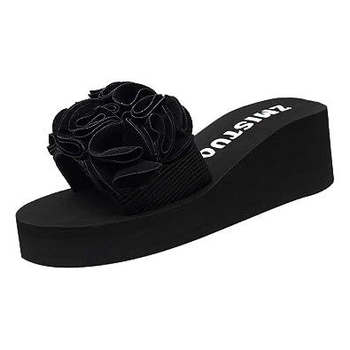 09c56d903 AOJIAN Shoes Womens Sandals Summer Thick Wedge Floral Flip Flop Slide  Slipper Clog Mule Black