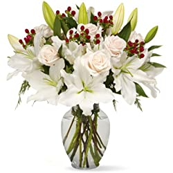 Benchmark Bouquets White Elegance, With Vase for Valentine's Day