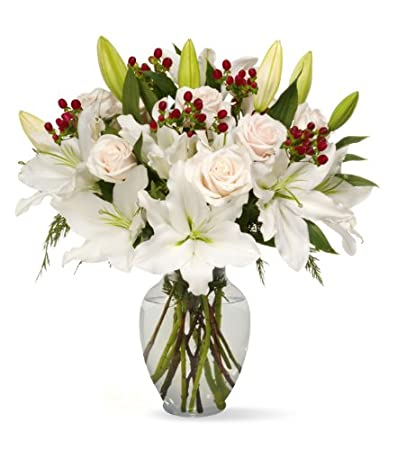 Amazon Benchmark Bouquets White Elegance With Vase Fresh Cut