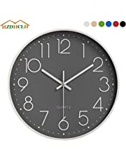 HZDHCLH Wall Clock 12 Inch Silent Non TickingClock for Living Room Bedroom Kitchen Office