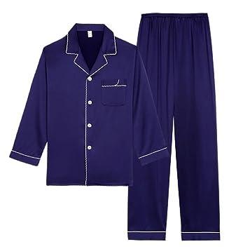 Camisa de manga larga para damas + Pantalones Pijamas de solapa Ropa de dormir suelta de