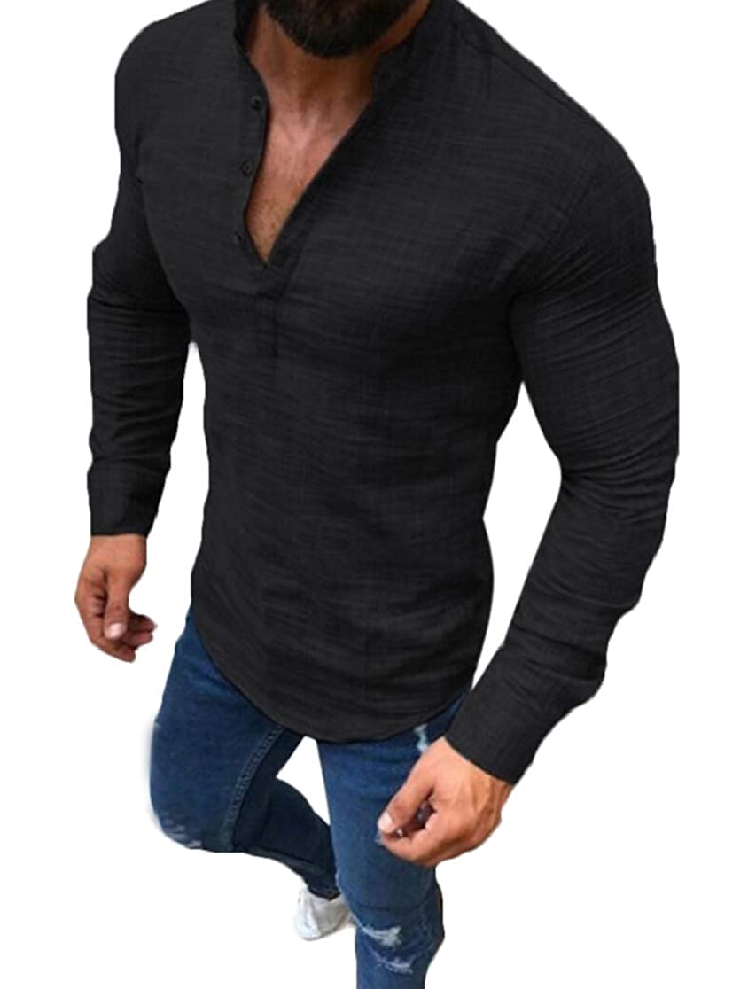 Domple Mens Pure Colour Casual Linen Long Sleeve Pullover T-Shirt Tee