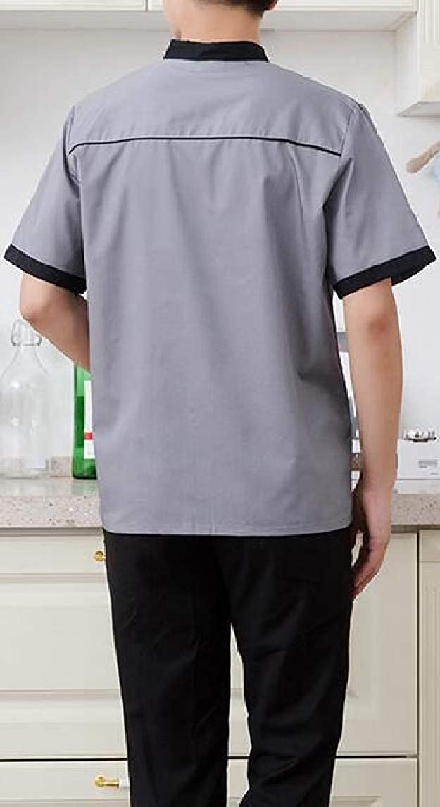 Jmwss QD Mens Short Sleeve Double-Breasted Hotel Overalls Summer Shirt Tops