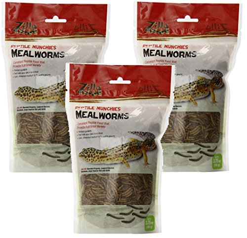 (3 Pack) Zilla Reptile Munchies Mealworms, 3.75 Ounce