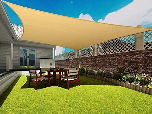 Rectangle Sun Shade Sail Canopy, 12 x 20 Patio Shade Cloth Outdoor Cover – UV Block Sunshade Fabric Awning Shelter for Pergola Backyard Garden Carport Sand