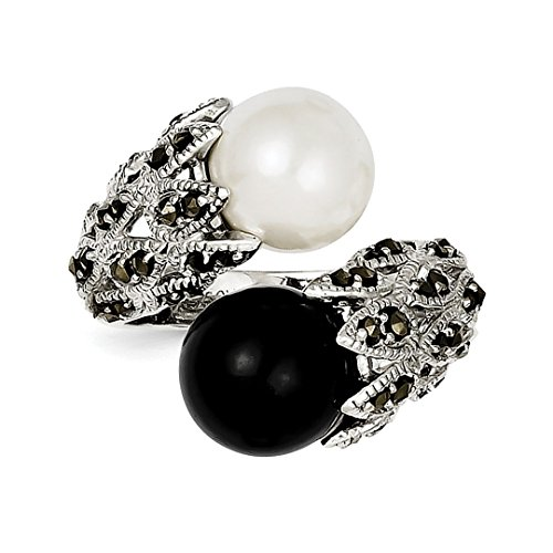 ICE CARATS 925 Sterling Silver Marcasite Black White Freshwater Cultured Pearl Band Ring Size 8.00 Fine Jewelry Ideal Gifts For Women Gift Set From - Silver Marcasite Ring