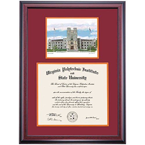 Campus Linens Virginia Tech VT Hokies Diploma Frame Maroon Orange Matting Watercolor