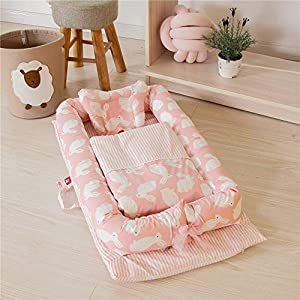 Abreeze Baby Bassinet for Bed -Pink Rabbit Baby Lounger Comforter Included – Breathable & Hypoallergenic Co-Sleeping Baby Bed – 100% Cotton Portable Crib for Bedroom/Travel