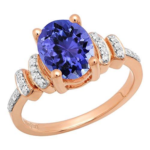 14K Rose Gold 9X7 MM Oval Tanzanite & Round White Diamond Ladies Engagement Ring (Size 10) - 14k Oval Tanzanite Ring