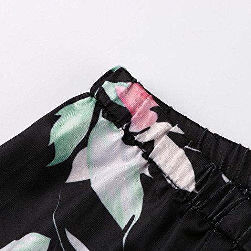 Floreale Maniche T Quarti con e Stampa con Corte Stampa Spalla Nero Colletto Maglietta Casual Elegante Moda Lunga Tre Shirt Femminile Nuda Colletto Longra Un Manica Camicetta nRWTAFOca