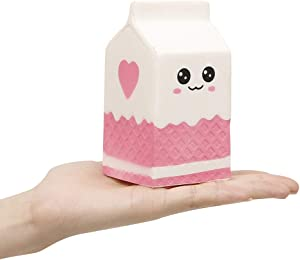 Anboor 4.8 Inches Squishies Milk Bag Carton Slow Rising Kawaii Scented Squishies Charms Decompress Toy 1 Pcs Color Random