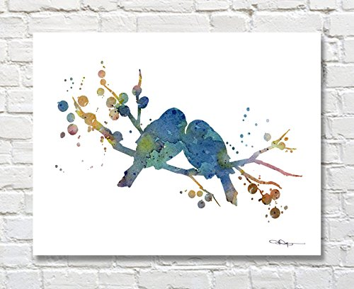 Love Birds Bird Art Print Abstract Watercolor Bird Art Print by Artist DJ Rogers