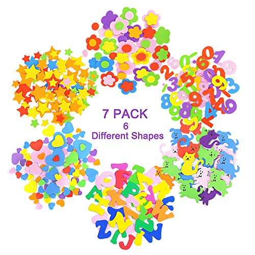 7 Pack Self-Adhesive Foam Stickers Assorted Colors Kid's Arts Craft Supplies for Greeting Cards Home Decoration (Letter, Stars, Hearts, Flowers, Cats and Dogs and Number)