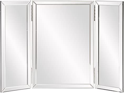 Amazon Com Howard Elliott Tripoli Trifold Vanity Mirror 3 Way Tabletop Bedrooms Bathroom Makeup Portable Cosmetic Makeup Mirror With Beveled Edges Tri Fold Mirror 31 Inch X 21 Inch Furniture Decor