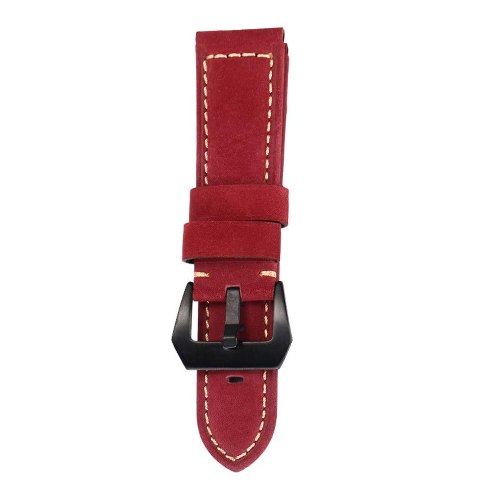 JDgoods Watch Band Replacement Leather Padded Buckle Wrist Band Strap 22 MM Brings New Life to Any Watch (Red)