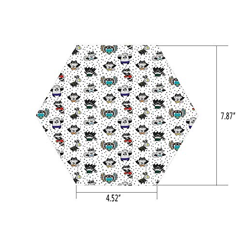 PTANGKK Hexagon Wall Sticker,Mural Decal,Superhero,Animal Owl Dear Fox Cat Penguin Raccoon Bear in Superhero Costumes Print,White Seal Brown,for Home Decor 4.52x7.87 10 Pcs/Set ()