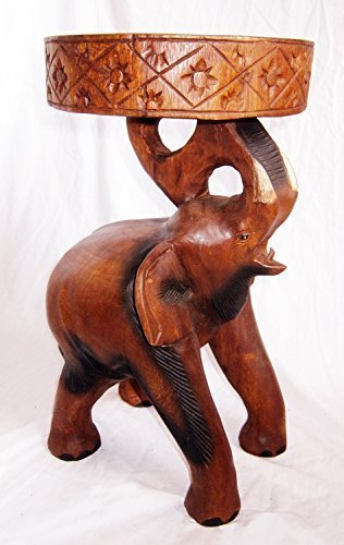 Hand Carved Wooden Elephant Table.