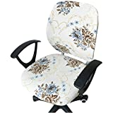 YUE CARE Office Chair Slipcover Roating Chair Cover Flower Printed Removable Protector #5
