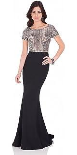 da2130163ec Terani Couture Beaded Illusion Bodice Long Dress at Amazon Women s ...
