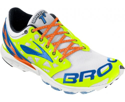 Brooks T7 Racer, Scarpe da Corsa Unisex-Adulto Bianco (White/Yellow/Blue)