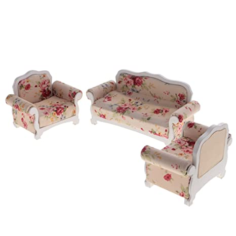 Dovewill 1:12 Dollhouse Miniatures Bedroom/Living Room Furniture Long Short  Sofa Set Of
