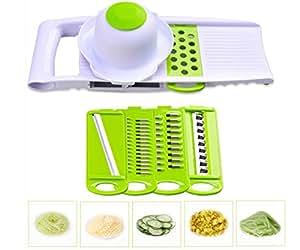 Joyoldelf 5 in 1 Versatile Manual Kitchen Cutter Slicer Shredder Grater with Food Holder & 5 Interchangeable Stainless Steel Blades