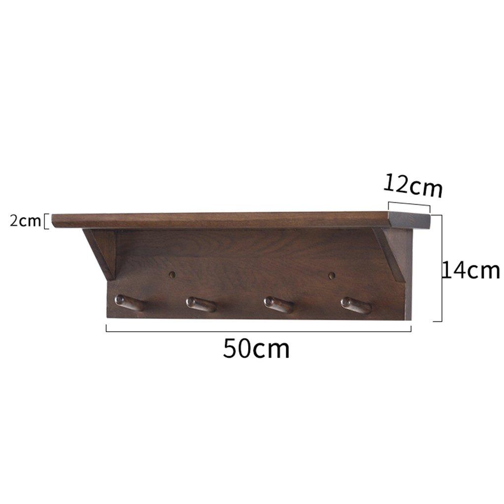 50cm Wall Mounted Wooden Coat Rack Coat Hooks Living Room Bedroom Storage Rack, Walnut (Size   70CM)