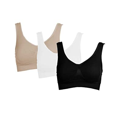 135952c08c Spring Fever Women Comfortable Seamless Wireless Medium Support Removable  Padded Sports Bra White Nude