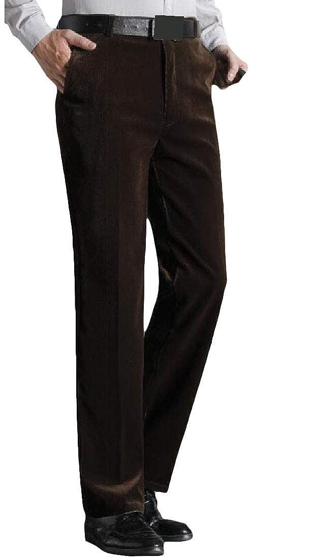 XiaoTianXinMen XTX Mens Slim Fit Autumn Trousers Thicken High Waist Corduroy Pants