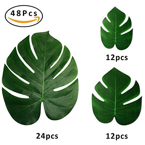 Finseng 36 Packs Tropical Leaves Palm Simulation Imitation Leaves Tropical Hawaiian Luau Jungle Safari Birthday Party Supplies Decorations