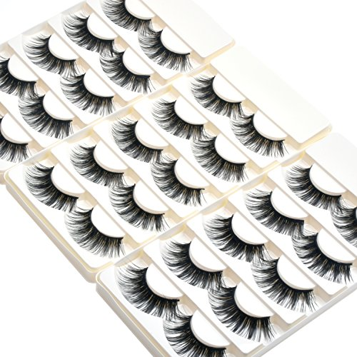 Wleec Beauty Dramatic Eyelashes Set Long Strip Lashes Handmade False Eyelash Pack #27/L (15 Pairs/3 Pack) -