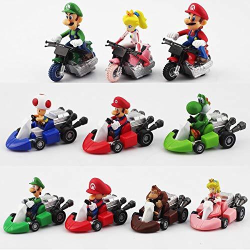 10pcs/set Super Mario Bros Kart Pull Back Car Cute figures PVC Collection figures toys brinquedos Toy