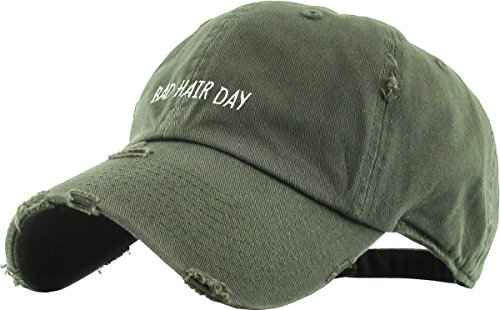 Day Womens Cap (KBSV-072 OLV Bad Hair Day Vintage Distressed Dad Hat Baseball Cap Adjustable)