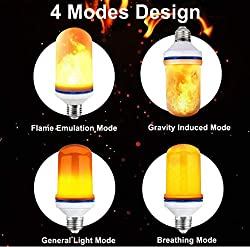LED Flame Effect Light Bulb, 4 Modes with Upside Down Effect, 2 Pack E26 LED Bulbs, Flame Fire Flickering Smart Bulbs for Halloween Decorations, Christmas Lights, Hotel, Bar Party Decoration
