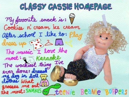 Ty Teenie Beanie Boppers Classy Cassie Soft Plush Rag Doll