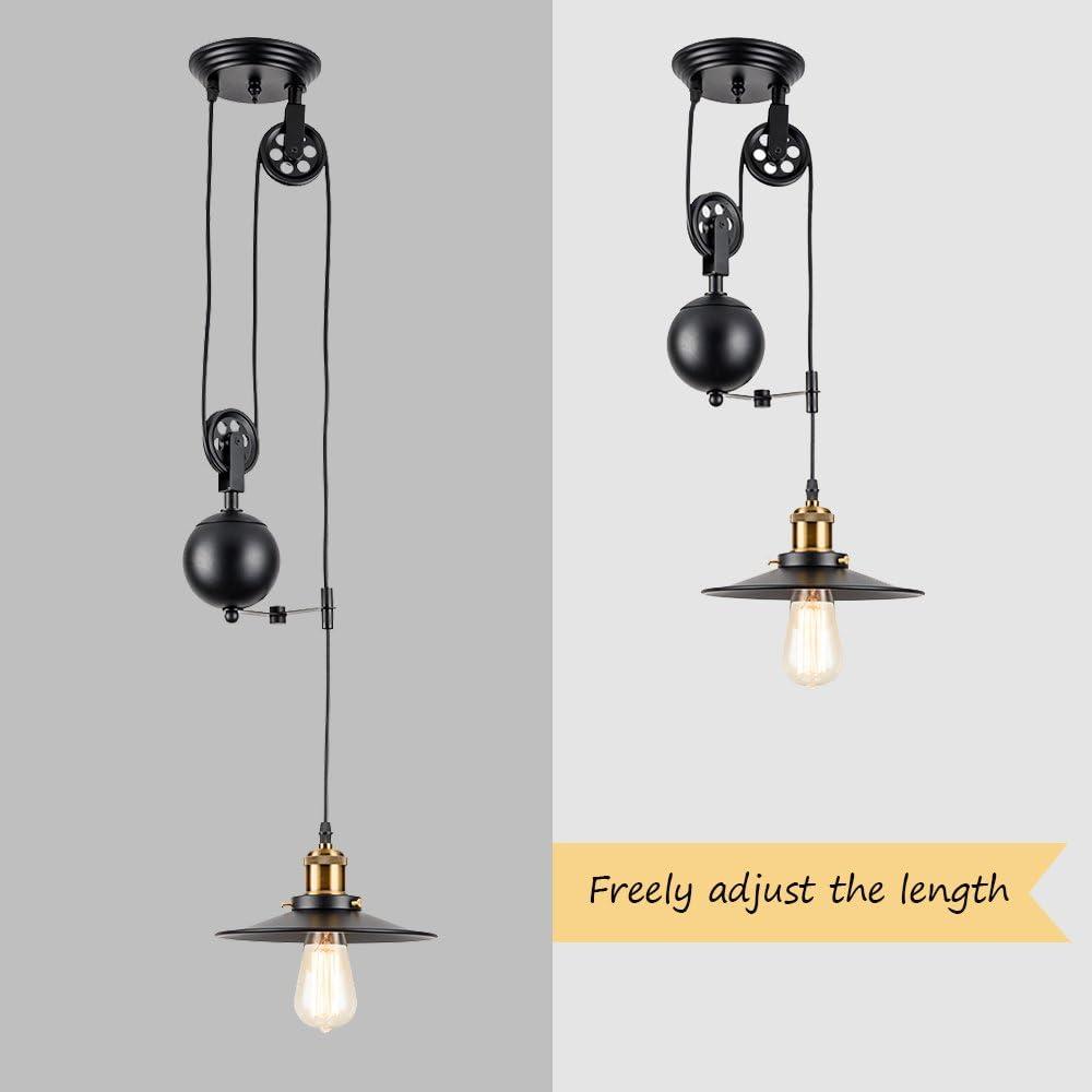 Luminaire suspendu industriel noir poulie montée et descente Vintage Éclairage d'intérieur Luminaires d'intérieur Plafonniers Luminaire (ampoule non