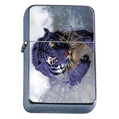 (Blue Tiger Flip Top Oil Lighter Em1 Smoking Cigarette Silver Case Included)