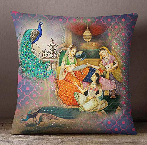 (Dozili Multicolor Mughal Print Cushion Cover Home Decor Square Pillow Cover Canvas Cushion Cover Satin Pillow Case for Living Room 18