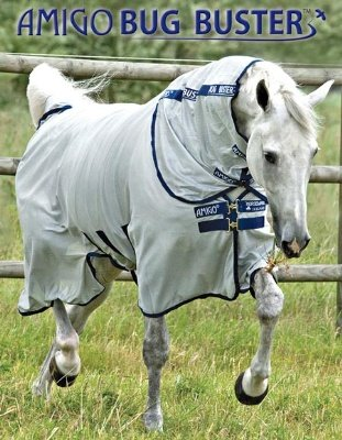 Amigo Bug Buster Vamoose Horse Fly Sheet with No-Fly Zone (84, Silver/Navy) by Amigo Blankets